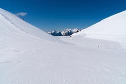 Winter landscape in the Swiss alps at Leysin, Switzerland