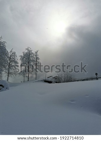 Winter landscape, much snow, Mountain, minimalizm Stok fotoğraf ©
