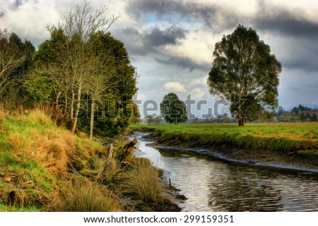 Winter landscape near Lima river in Viana do Castelo