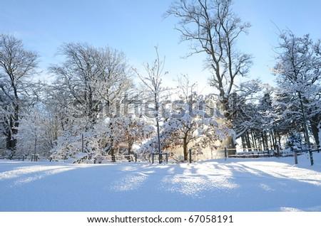 Winter landscape near the Pentland Hills in Scotland