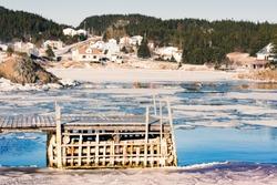 Winter landscape of outport hamlet of Valley Pond on New World Island rural Newfoundland, NL, Canada