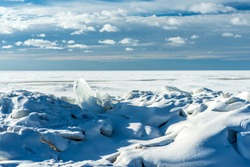 winter landscape of the Gulf of Finland with ice floes