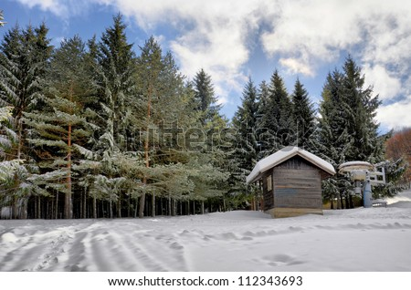 winter landscape onto the skis lope / winter paradise on alps