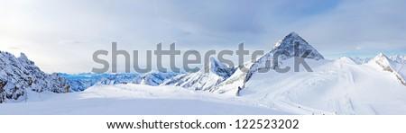 Winter landscape - Panorama of the ski resort Zillertal Hintertuxer Glacier, Tirol, Austria