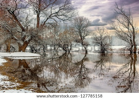 Winter landscape river Zagyva in Hungary-this photo make hrd technik