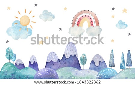 winter landscape, trees, mountains, clouds and stars watercolor childrens illustration on a white background, nursery room decor, print Stockfoto ©