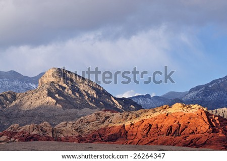 Winter landscape Wilson Cliffs, Red Rock Canyon, Las Vegas, Nevada, USA