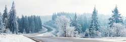 Winter landscape, Winter Forest,  Winter road and trees covered with snow, Germany, panoramic shot