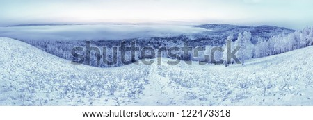 winter landscape, winter panorama, panorama of winter, winter of Siberia, winter in Siberia, winter in Russsia