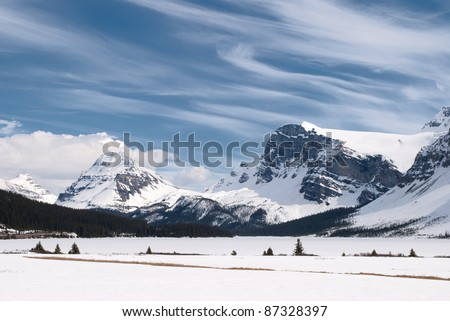Winter landscape with Canadian Rockies and Bow Lake, Banff National Park, Alberta, Canada