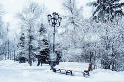 Winter landscape with falling snowflakes - bench covered with snow among frosty park winter trees and street lanterns
