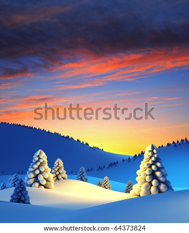 winter landscape with fir trees, 3d render
