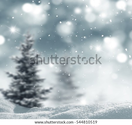 Winter landscape with fir trees.Merry Christmas and happy New Year greeting background.  #544810519