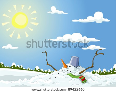 Winter landscape with melted snowman, raster