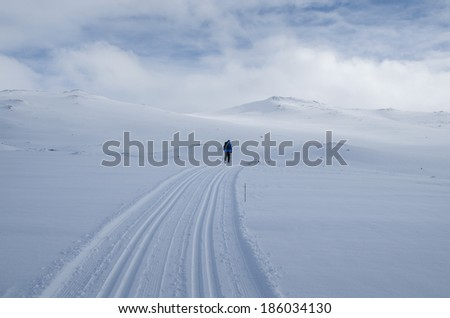 Winter landscape with person skiing and distant mountains