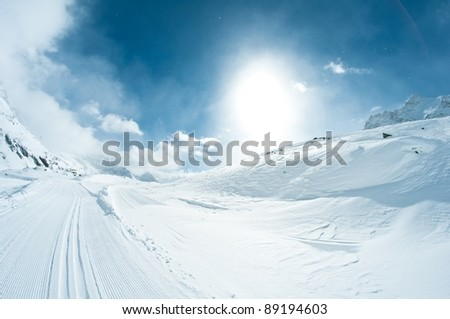 winter landscape with skiing tracks