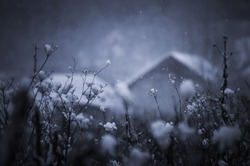 winter landscape with snow flakes falling