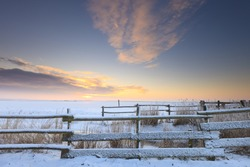 Winter landscape with snow in a field