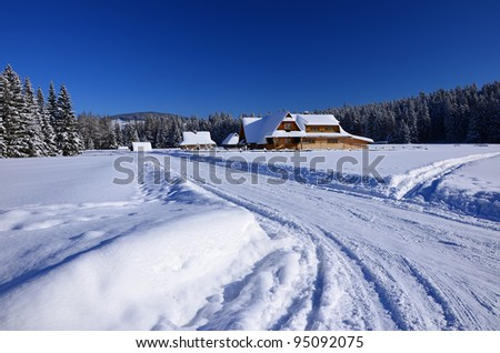 Winter landscape with snow in Chocholowska valley - Tatra Mountains
