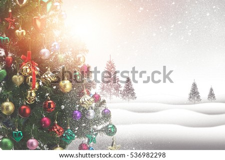 Winter landscape with snowy fir trees soft background   - Shutterstock ID 536982298