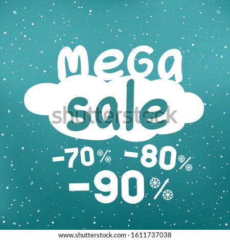Winter mega sale text on white cartoon cloud with discount and snow falling. Seasonal discounts sticker