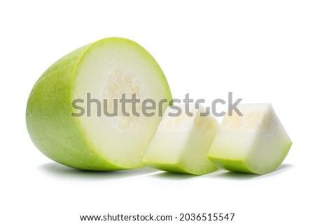 Winter melon, White gourd, Winter gourd, Ash gourd, tallow gourd, ash pumpkin,isolated on white background Foto stock ©