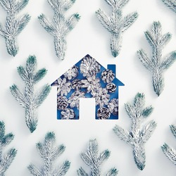 Winter minimal concept - House silhouette made of snowy pine cone with tree branch pattern. Square composition, flat lay, top view. Winter holiday layout