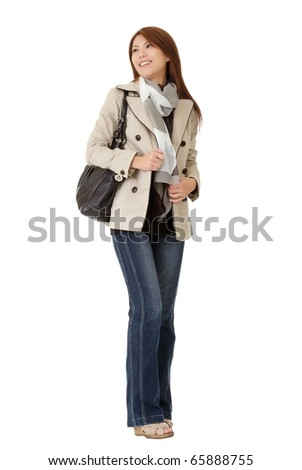 Winter modern woman of Asian isolated over white background.