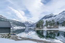 Winter mood in nice landscape . Photo from Storesunde in Stryn in Norway .