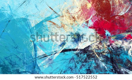 Winter morning. Cold blue winter pattern with lighting effect. Abstract painting soft color texture. Bright modern artistic motion background. Fractal artwork for creative graphic design