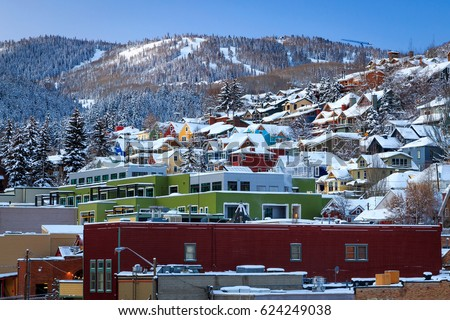 Winter morning in Park City, Utah, USA. #624249038
