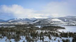 Winter morning view of Snow mountains area near Aspen, Colorado