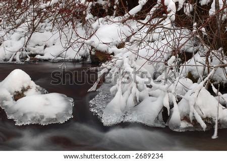 Winter mountain creek, slow shutter speed