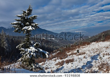 winter mountain landscape and a sky with clouds