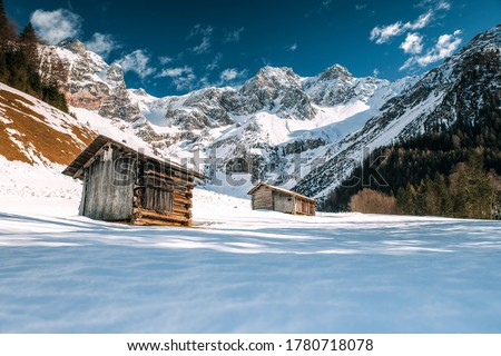 Winter mountain snow camp scene. Camping in winter snow mountains. Mountain winter snow camp