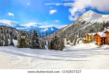 Winter mountain snow ski resort in Alps vacation Stock photo ©