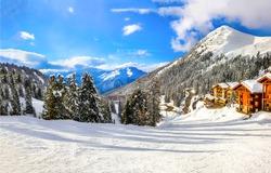 Winter mountain snow ski resort landscape. Winter mountain snow resort view. Snow mountain resort panorama