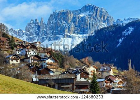 Winter mountain Tiers village in the South Tyrol province (Italy).
