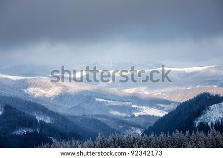 Winter mountain valley. Great Smoky Mountain National Park, Tennessee, USA