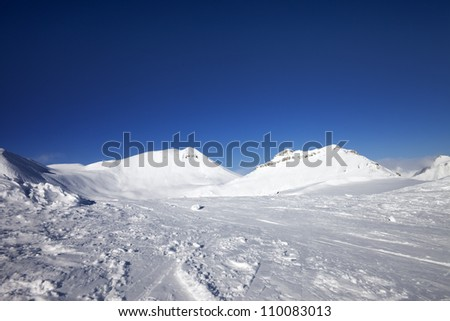 Winter mountains. Georgia, ski resort Gudauri. Caucasus Mountains.