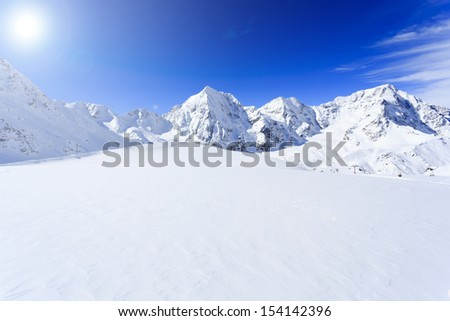 Winter mountains, panorama -  snow-capped peaks of the Italian Alps #154142396