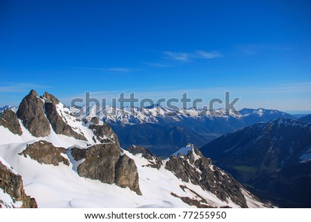 Winter mountains peaks