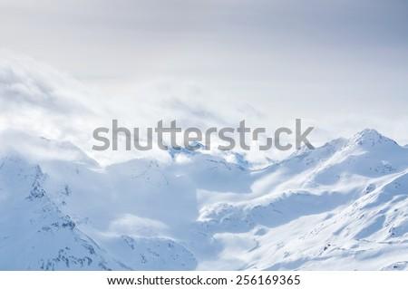 Winter mountains. Ski resort Elbrus. Caucasus, Russian Federation. Beautiful winter landscape. #256169365