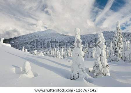Winter mountains. South Ural, backbone of Taganay .