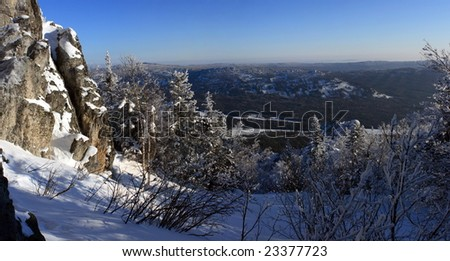 """Winter mountains. South Ural, backbone of """"Taganay"""", Russia."""