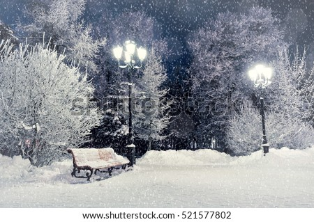 Winter night landscape - bench covered with snow among frosty winter trees and street lights. Winter night landscape of park under falling snowflakes