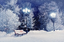 Winter night landscape scene of snow covered bench among snowy trees and shining  lights during snowfall