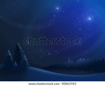 Winter night landscape with forest and furtrees.
