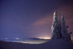 Winter NIght on Mt Spokane Overlooking Cities