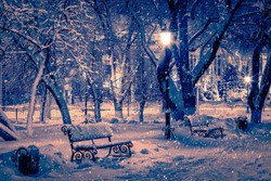 Winter night park with lanterns, benches, pavement and trees covered with snow in heavy snowfall.